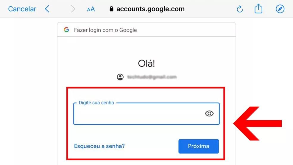 """Informe a senha da conta do Google e clique em """"Próxima"""" — Foto: Reprodução/Leandro Eduardo"""
