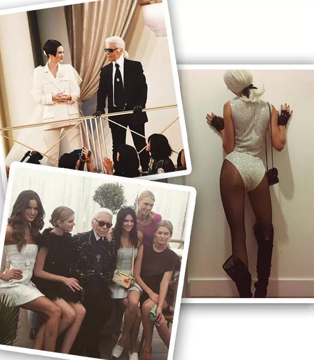 Kendall Jenner com Karl Lagerfeld no desfile de alta-costura da Chanel; durante evento da Fendi em Cannes; e vestida como o kaiser no Halloween de 2015 (Foto: Instagram/Reprodução)