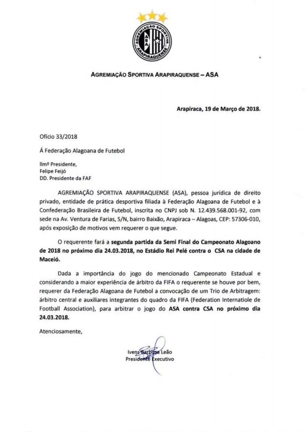 ASA solicita arbitragem Fifa para semifinal do Alagoano (Foto: Divulgação / Ascom ASA)