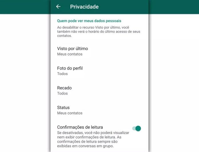 Configurações de privacidade do WhatsApp permitem controlar apenas o 'visto por último', o 'recado' associado ao perfil e o 'status' que funciona como o stories do WhatsApp. Não há ajuste para o aviso de 'online'. — Foto: Reprodução