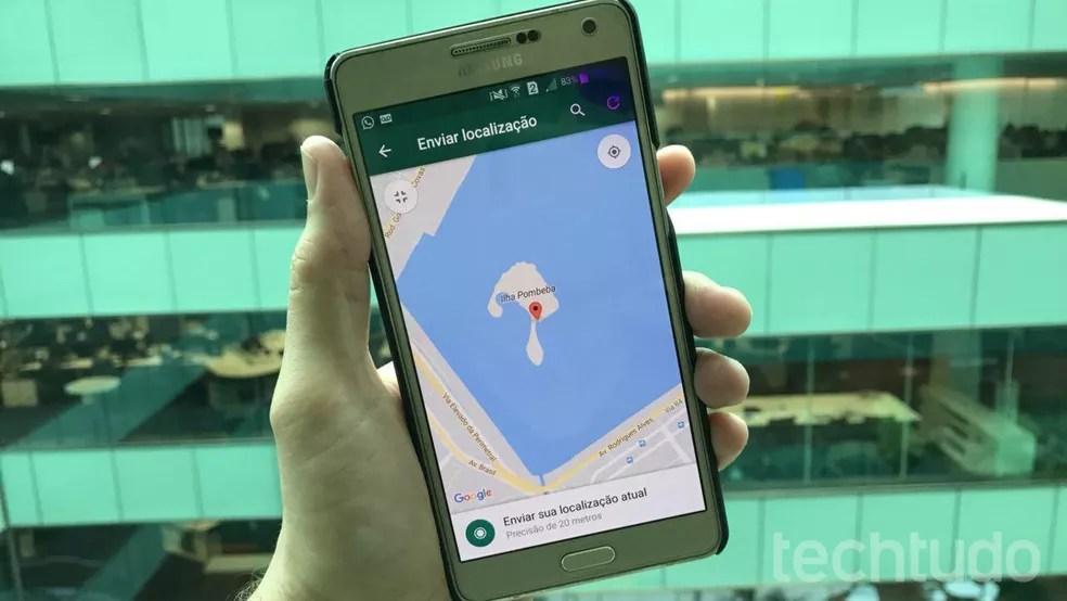 Ferramenta de enviar localização no WhatsApp, rodando em um celular com Android (Foto: Thássius Veloso / TechTudo)
