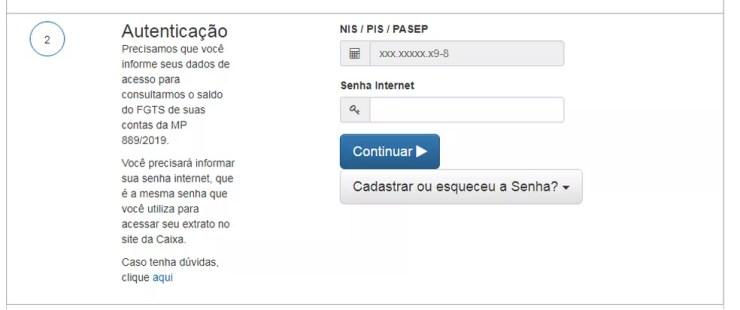 Coloque a senha que você usa para acessar o extrato do seu FGTS no site da Caixa — Foto: Reprodução/CEF