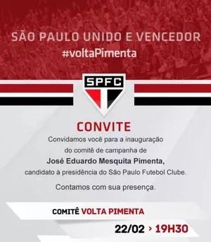 Lançamento da campanha de Pimenta para presidente do São Paulo (Foto: Divulgação)