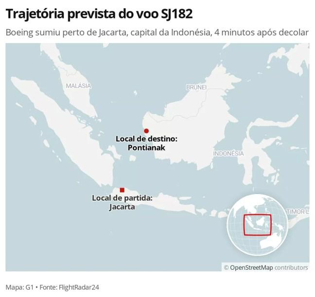 MAPA: Trajeto previsto do voo SJ182, desaparecido na Indonésia — Foto: G1 Mundo