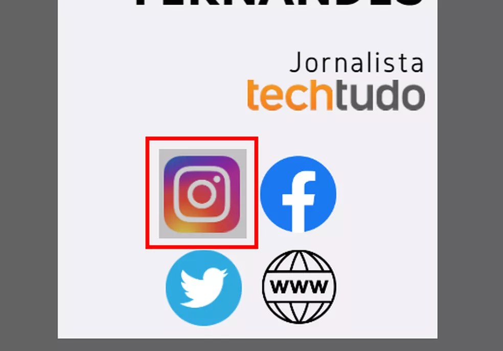 Crie links sobre os ícones do cartão de visita — Foto: Reprodução/Rodrigo Fernandes