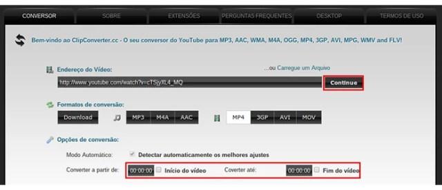 Escolha onde o vídeo deve começar e terminar e, depois, clique em Continue (Foto: Reprodução/Paulo Alves)
