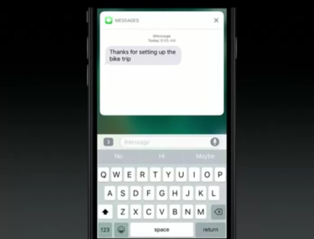 iOS 10 pode exibir conversas inteiras na tela de bloqueio (Foto: Reprodução/Apple)