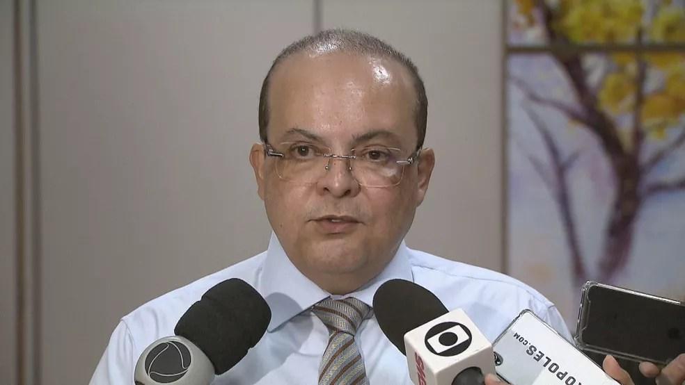 O governador de Brasília Ibaneis Rocha (MDB) em entrevista coletiva sobre o Hospital Regional de Sobradinho — Foto: TV Globo/Reprodução