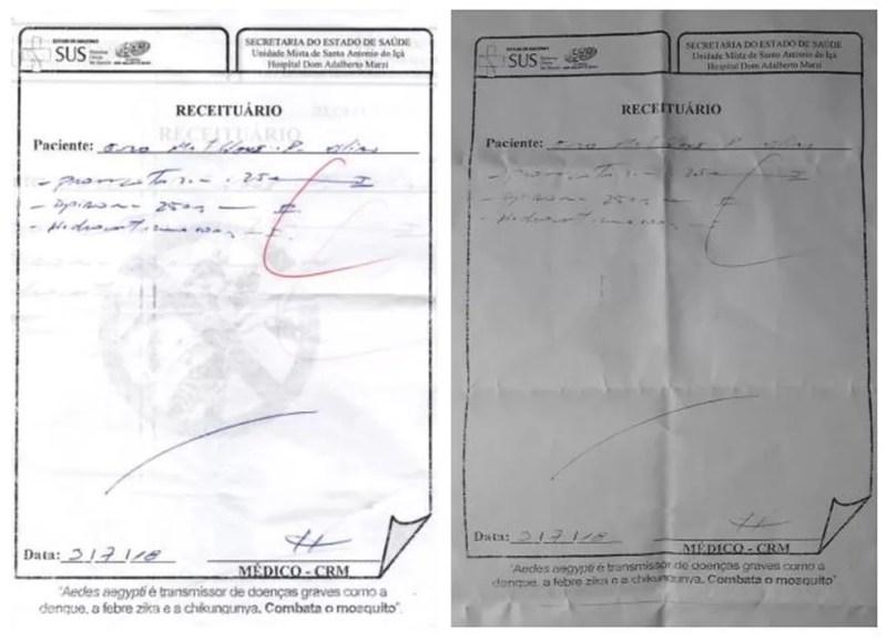 À esquerda, uma cópia da receita prescrita pelo médico antes da correção da dosagem para 2,5 mg feita com caneta (direita) (Foto: Reprodução/Arquivo Pessoal)