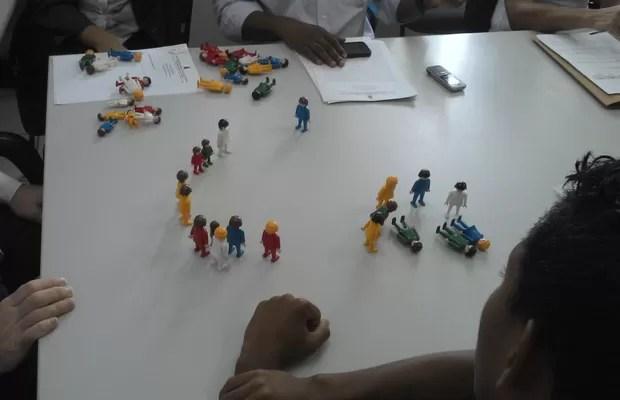 Exemplo de constelações com bonecos, utilizadas em audiências com depoimento de crianças e adolescentes, especialmente em questões envolvendo definição de guarda e adoção (Foto: Arquivo Pessoal)