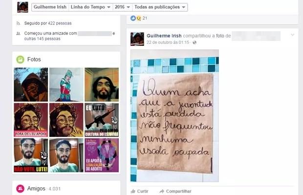 Guilherme Neto, morto pelo pai, fazia posts na web sobre movimentos sociais, Goiânia, Goiás (Foto: Reprodução/Facebook)