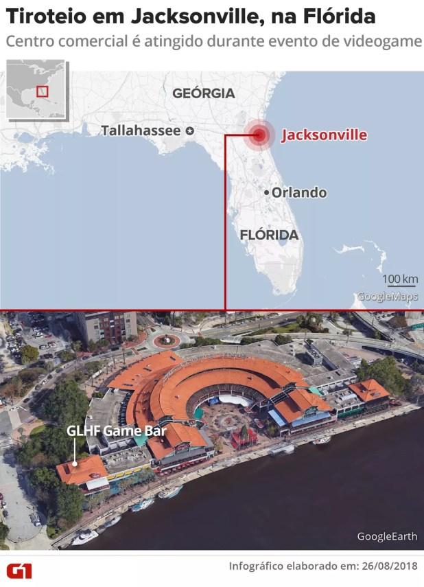 Tiroteio em Jacksonville, na Flórida.  (Foto: Crédito: Igor Estrella/G1)