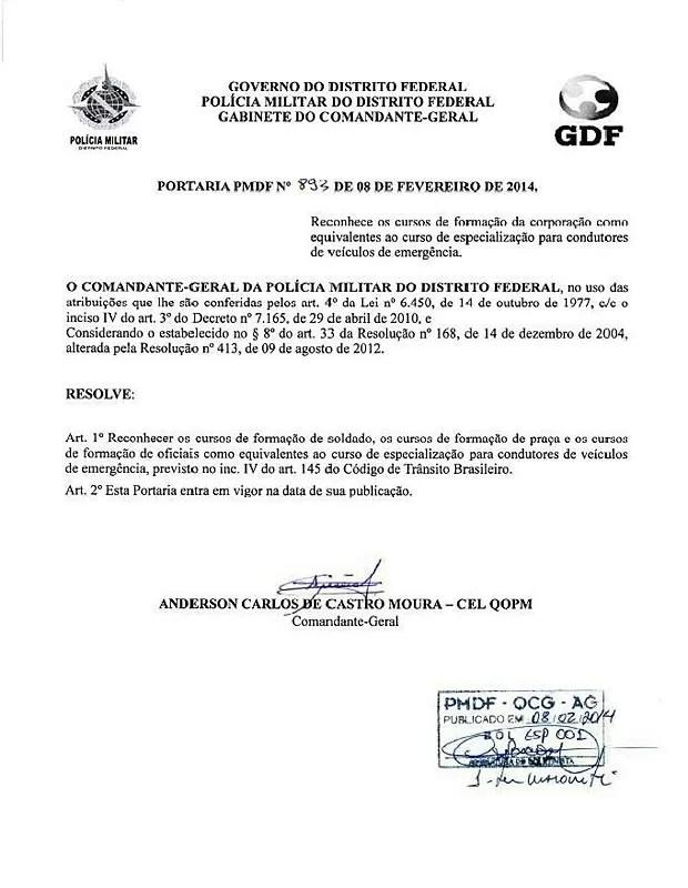 Portaria publicada neste sábado (8) pelo comando da PMDF informando que o curso de formação habilita policiais a conduzir viaturas (Foto: PMDF / Divulgação)