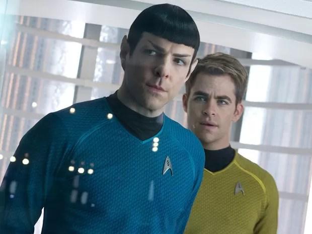 Zachary Quinto e Chris Pine são, respectivamente, Spock e capitão Kirk em 'Star trek: Além da escuridão' (Foto: Divulgação)