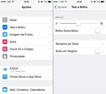 Ajustando o brilho da tela do iPhone (Foto: Reprodução/Helito Bijora)