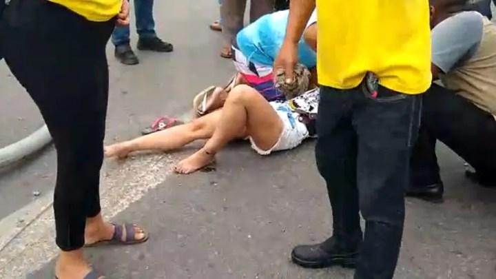 De acordo com primeiras informações, mulher ficou ferida — Foto: Reprodução/Redes Sociais
