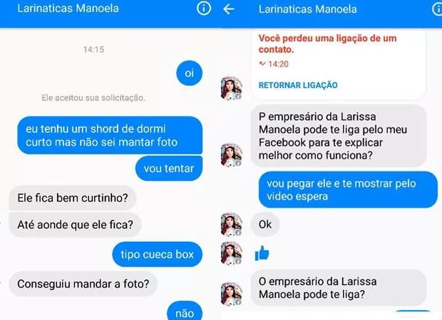 Conversa sobre promoção falsa de Larissa Manoela no facebook (Foto: Reprodução / Facebook)