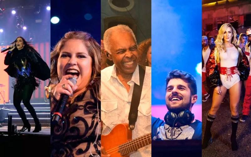 Ivete, Marília Mendonça, Gil, Alok e Claudia Leitte estão entre atrações (Foto: Montagem/ G1)