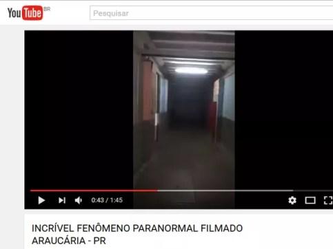 Vídeo com fantasma em escola de Araucária viraliza na internet (Foto: Reprodução/Youtube)