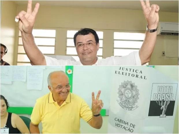 Candidatos Eduardo Braga (acima) e José Melo votaram na manhã de domingo (Foto: Assessorias/Divulgação)