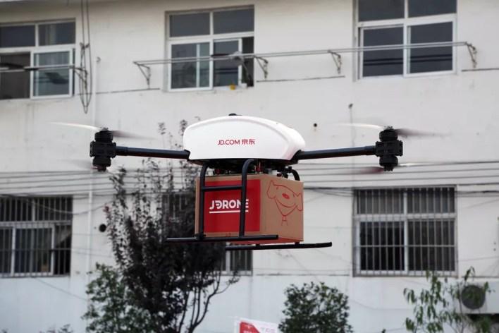 Drones da JD.com usados para entregar produtos na China. — Foto: Divulgação/JD.com
