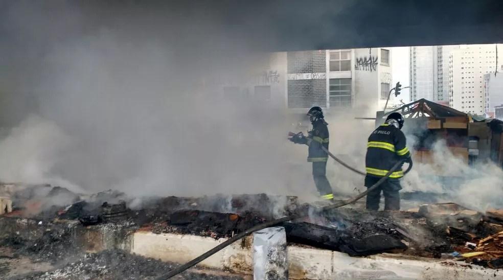Fogo controlado embaixo do viaduto Júlio de Mesquita (Foto: Divulgação/Corpo de Bombeiros)