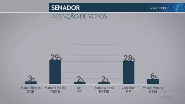Pesquisa Ibope para senador em Goiás em 21/09 — Foto: Reprodução/TV Globo