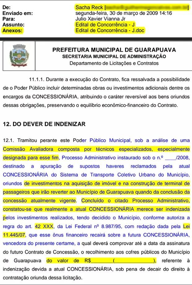 Edital de licitação enviado pelo advogado Sacha Reck, com o timbre da prefeitura de Guarapuava (PR), e com trechos em branco a serem preenchidos (Foto: Reprodução)