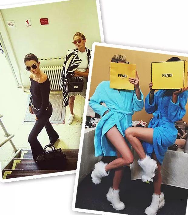Kendall com Gigi Hadid no backstage da NYFW e com Lily Donaldson no backstage da Fendi (Foto: Instagram/Reprodução)