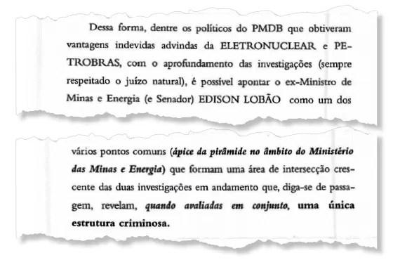 ELÉTRICO O senador Edison Lobão e um trecho da investigação. Ele é considerado a ligação entre o petrolão e o eletrolão (Foto: reprodução)