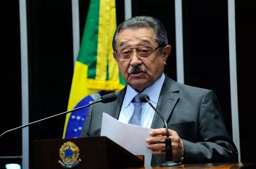 O senador José Maranhão (MDB) durante discurso no plenário do Senado Federal. — Foto: Divulgação/Agência Senado