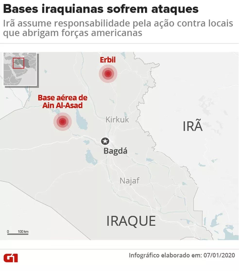 Bases iraquianas sofrem ataques — Foto: Cida Gonçalves/G1