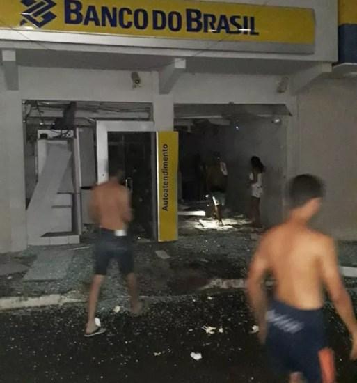 Banco do Brasil foi uma das agências bancárias atacada em São José de Mipibu — Foto: Redes Sociais