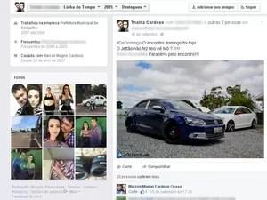 Casal chamava carro de 'Jetão' e 'ostentava' em rede social (Foto: Reprodução/ Facebook)