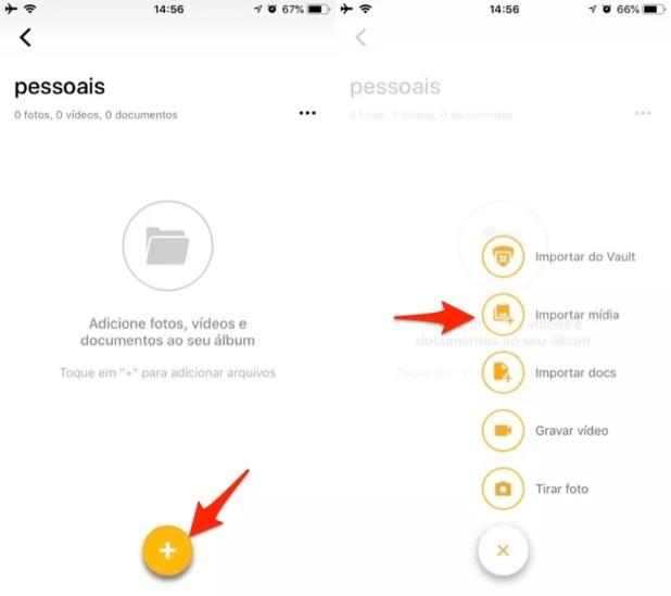 Ação para abrir a galeria de fotos do iPhone pelo app DFNDR VAULT (Foto: Reprodução/Marvin Costa)