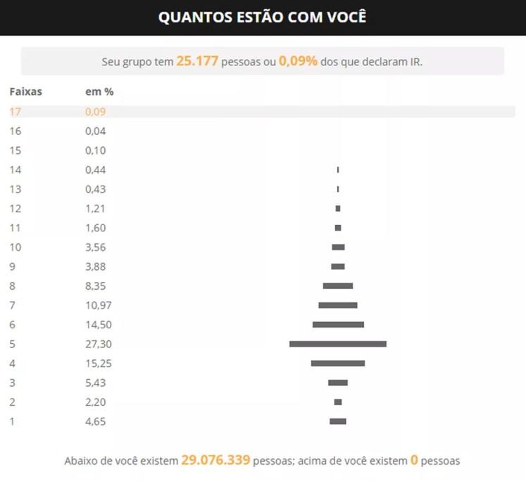 Calculadora mostra quantas pessoas há por faixa de renda, de acordo com dados de declarações de Imposto de Renda — Foto: Infografia G1