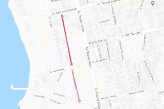 Mudança de sentido da rua Euclides da Cunha.  — Foto: Google Maps/Divulgação