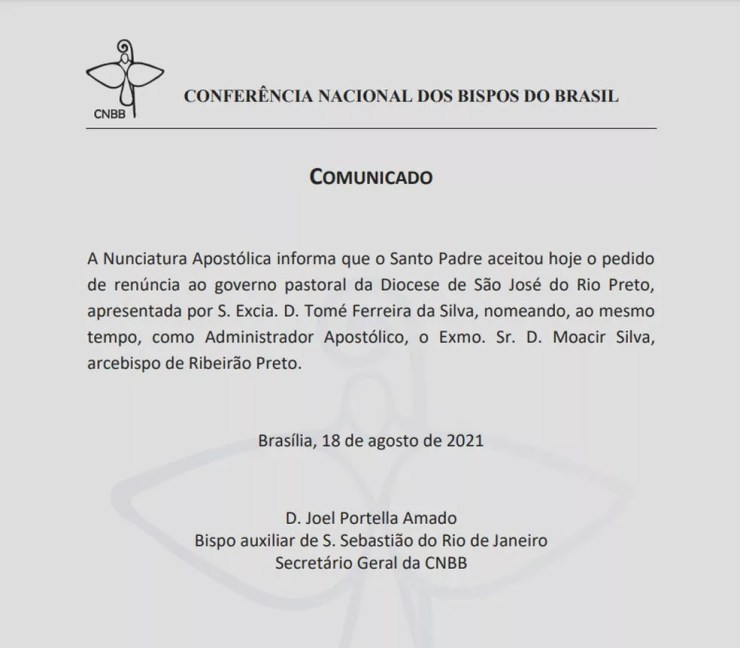Comunicado da renúncia de Dom Tomé à Diocese de Rio Preto (SP) foi divulgado no site da CNBB — Foto: Reprodução/Conferência Nacional dos Bispos do Brasil (CNBB)