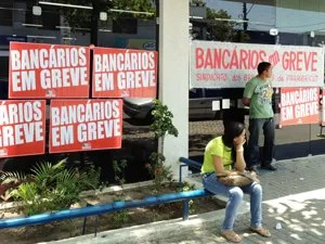 Bancos estão fechados na Paraíba durante greve dos bancários (Foto: Walter Paparazzo/G1)