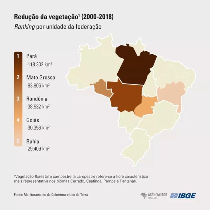 Redução da vegetação (2000 a 2018) — Foto: IBGE