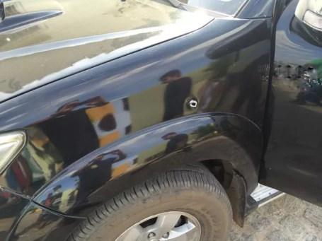 Carro em que cadidato estava foi atingido por tiros (Foto: Reprodução / Arquivo pessoal)