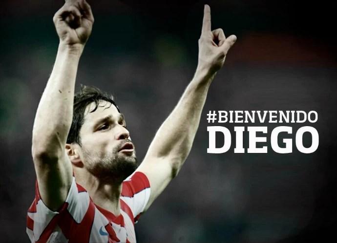 Montagem Diego site do Atlético de Madrid (Foto: Reprodução / Site Oficial)