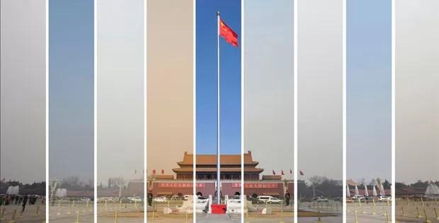 Montagem da agência Reuters mostra a poluição do ar entre os dias 6 e 15 de março deste ano, durante o Congresso Nacional do Povo, em Pequim, sessão anual do Parlamento chinês (Foto: Reuters)