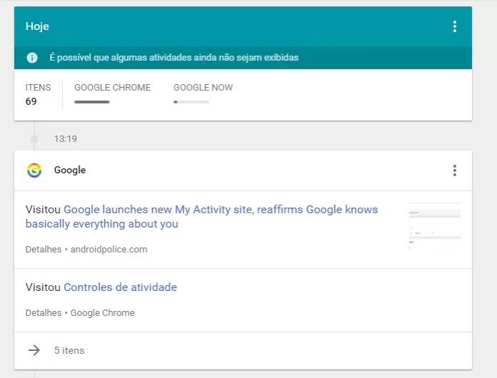 Página do Google reúne informações coletadas de serviços e aplicativos (Foto: Reprodução/Google)