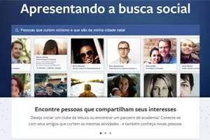 Tela de apresentação da nova busca social na página inicial do Facebook. (Foto: Reprodução)