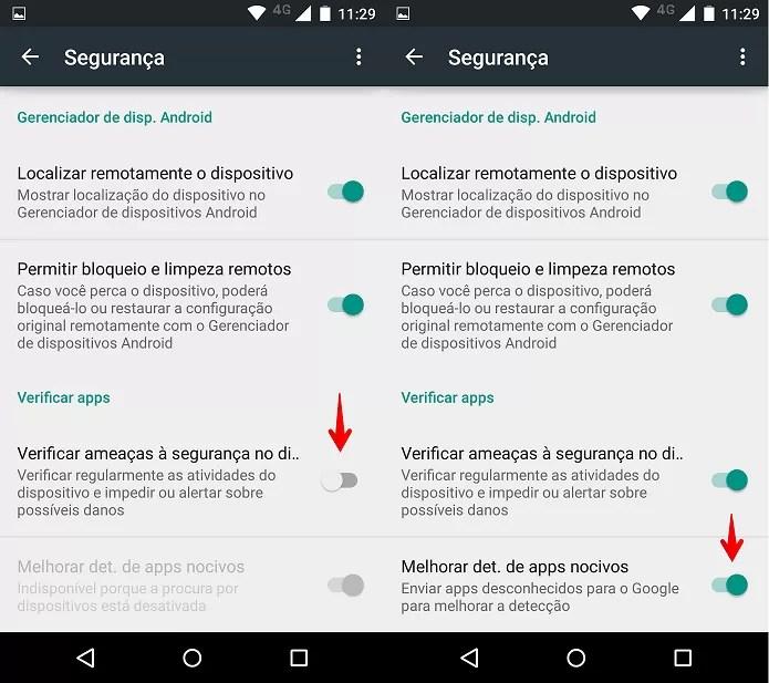 Ativando a Verificação de aplicativos no Android (Foto: Felipe Alencar/TechTudo)