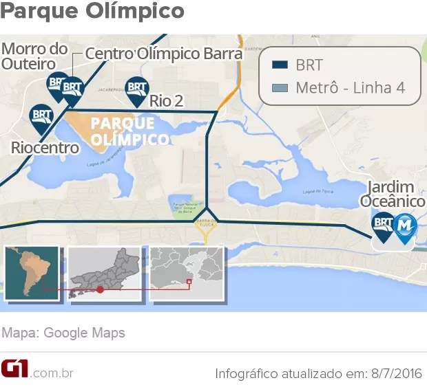 Como chegar ao Parque Olímpico para a Olimpíada 2016 (Foto: Arte G1 Rio)