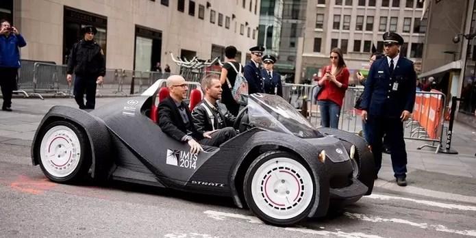 Carro impresso passou por um test drive nas ruas de Nova York (Foto: Reprodução/Mashable)