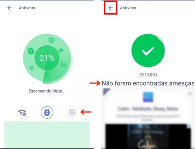 Celular Android escaneado com antivírus do Power Clean — Foto: Reprodução/Raquel Freire