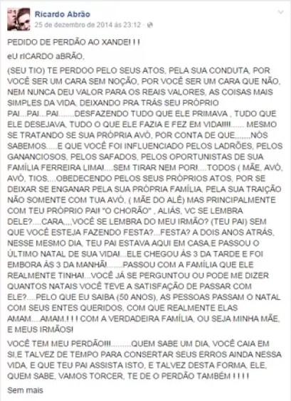 Facebook Ricardo Abrão (Foto: Reprodução/ Instagram)